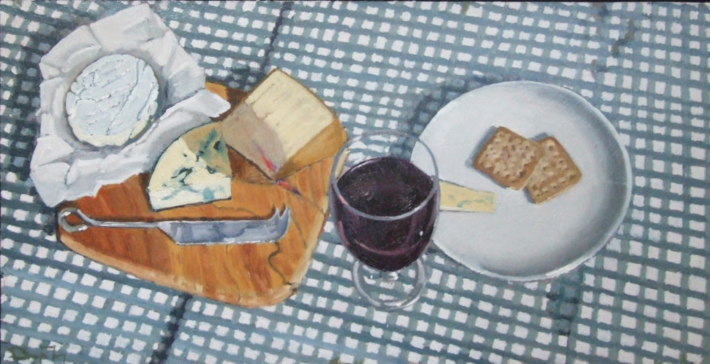 "Wine and Cheese, 24""x12"", oil on board"