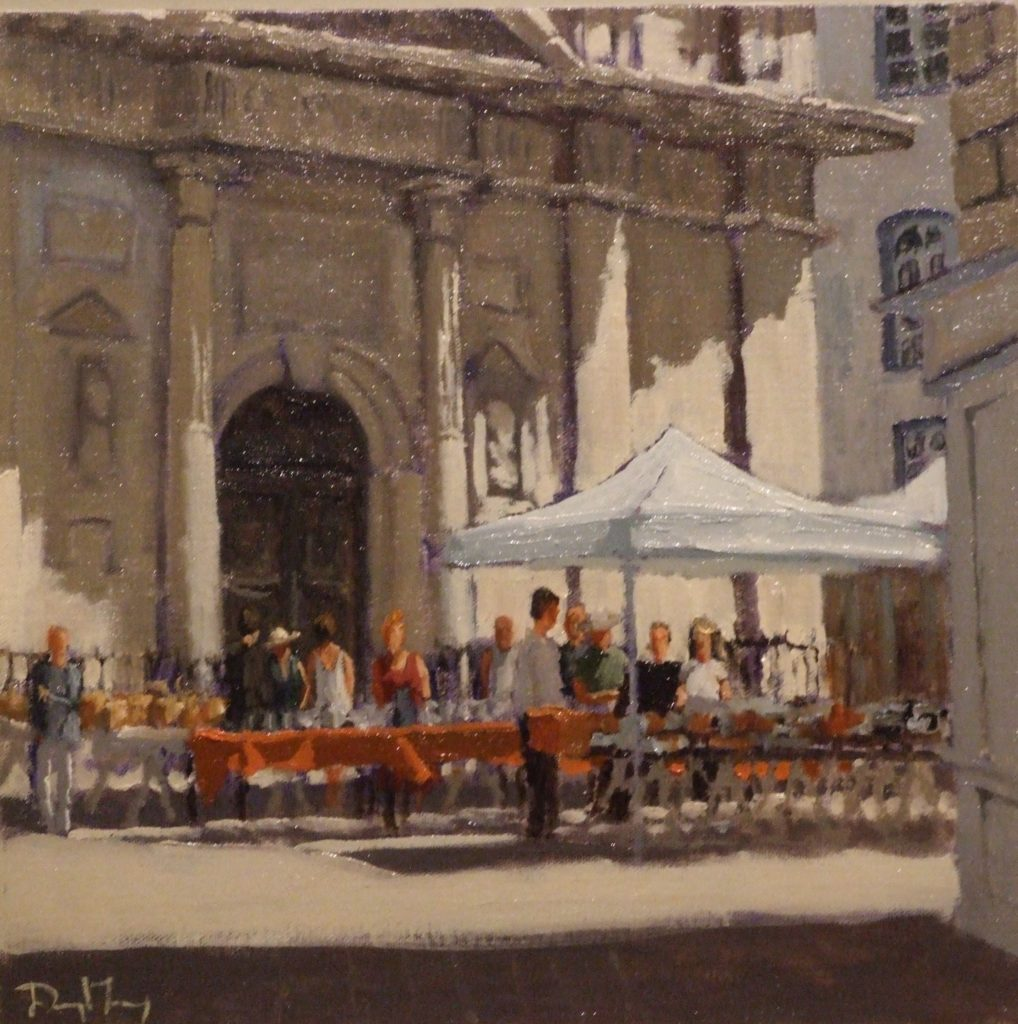 "Antiques Market Nantes, 12""x12"" oil on panel, SOLD"