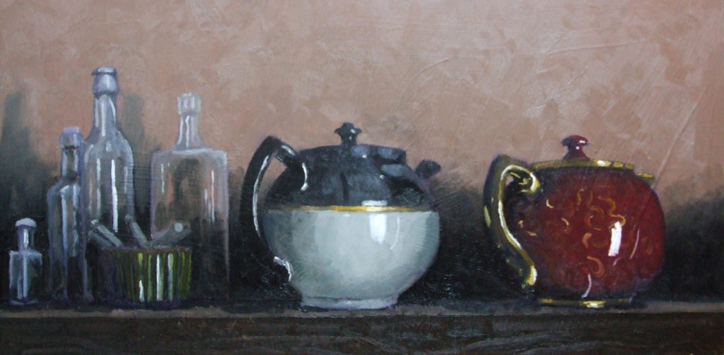 "Still Life with Tea Pots, 24""x12"", oil on board, SOLD"