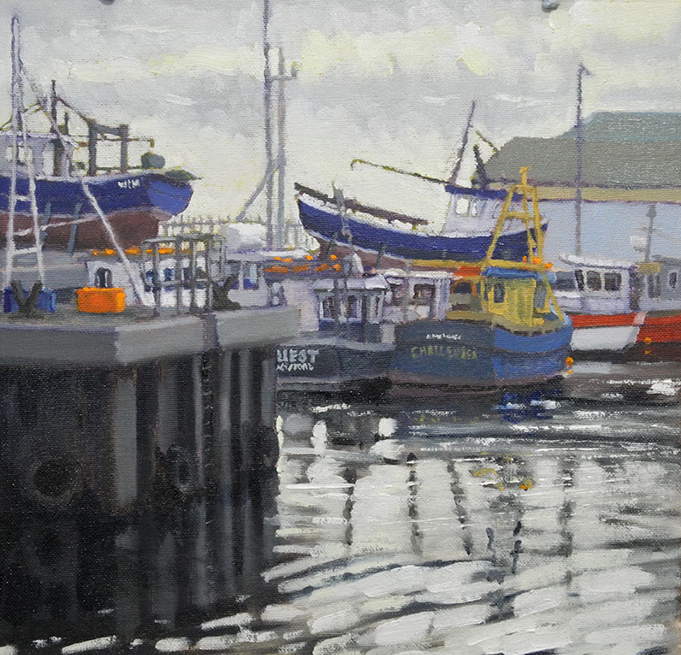 "Morning Light Arklow Harbour, 16""x16"" , SOLD"