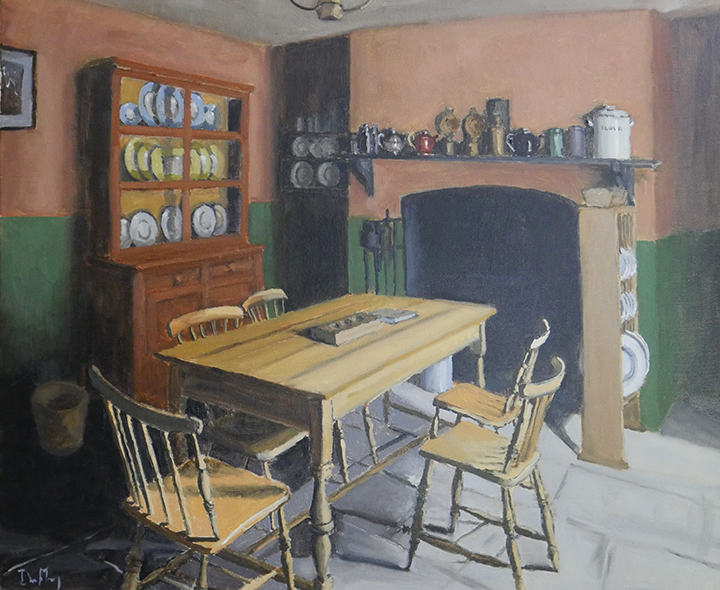 "Kitchen George Bernard Shaw Birthplace, oil on canvas, 24""x20"", SOLD"