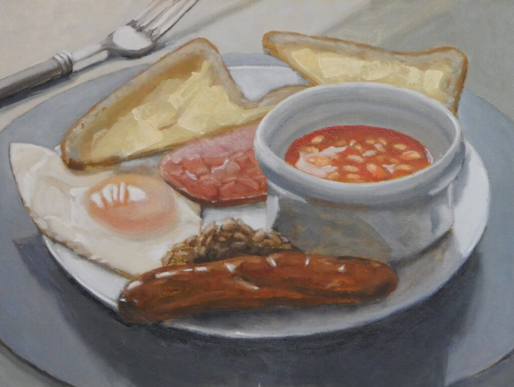 "Brunch, oil on panel, 12""x16"""