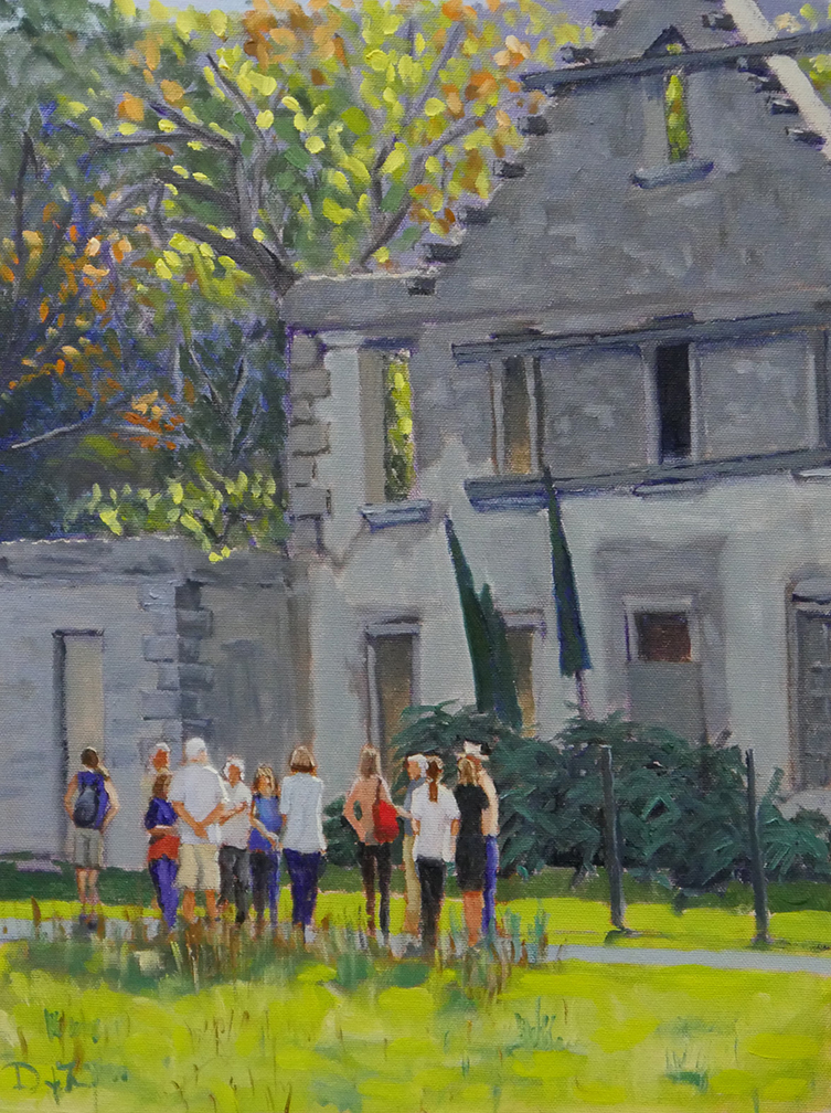 "Guided Tour, Kilmacurragh Gardens, Co. Wicklow, 12""x16"", SOLD"
