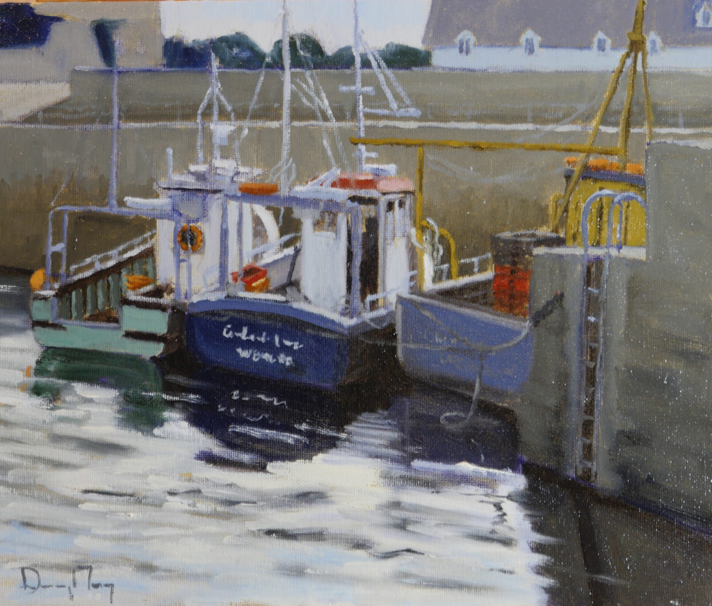 """Slade Harbour Boats, 12""""x10"""", oil on panel"""