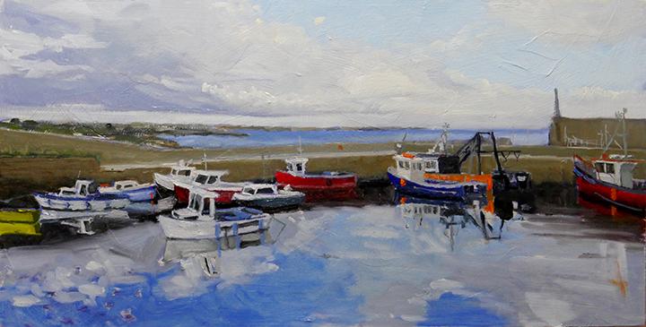 "Slade Harbour Wexford, 12""x24"", oil on board,"