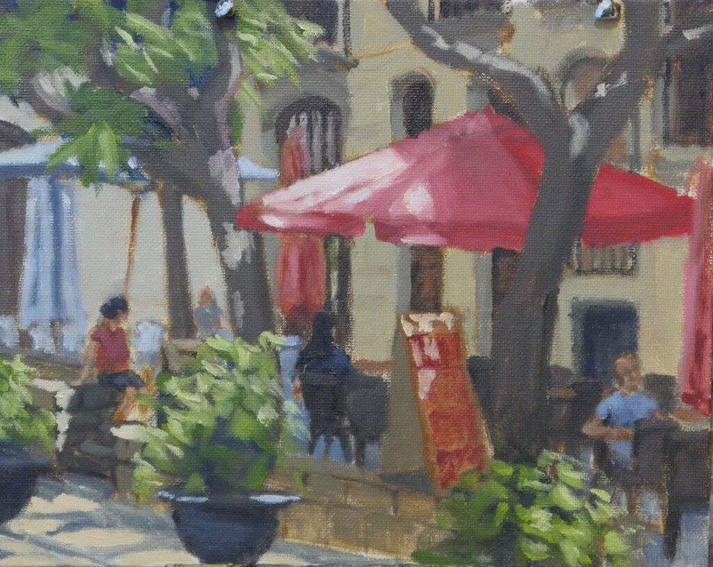"""Taragona Café, oil on panel 10""""x8"""""""